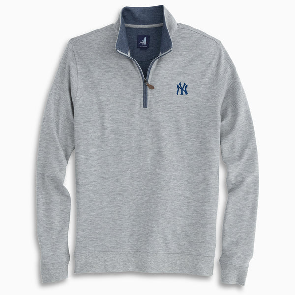 Men's Johnnie-O Yankees Light Grey Sully Quarter-Zip Pullover