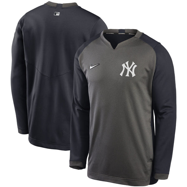 Men's Nike Yankees Charcoal & Navy Authentic Collection Thermal Crew Performance Pullover