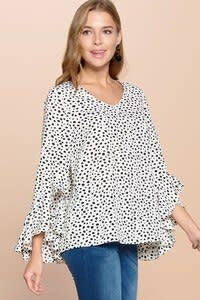 V-Neck Ditzy Print Top