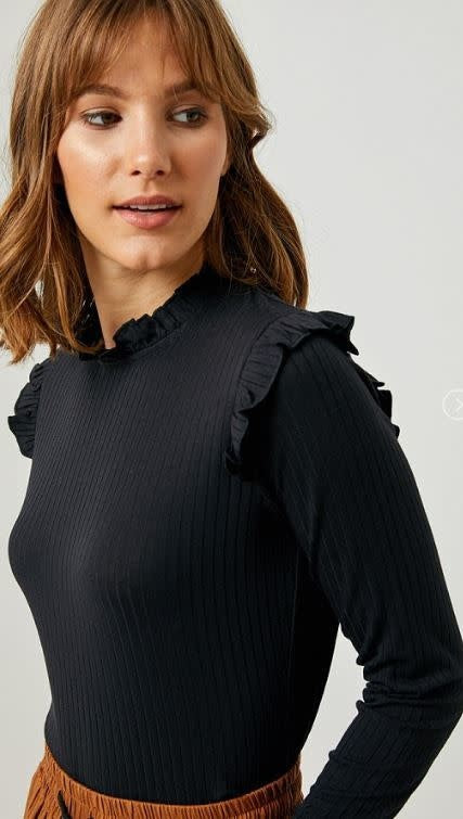 Women's Black Ruffle Neck Top