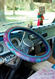 Olive Floral Steering Wheel Cover