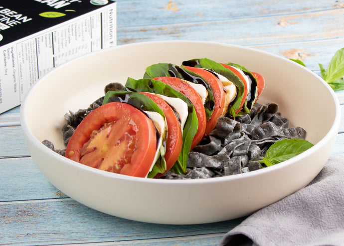 Tomato Mozzarella Salad with Balsamic and Black Bean Pasta