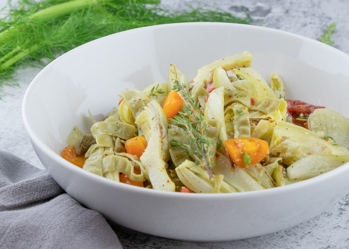 Roasted Fennel and Artichoke Edamame Pasta Salad