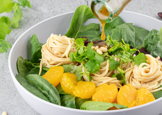 Mandarin Pasta Spinach Salad with Soybean Spaghetti
