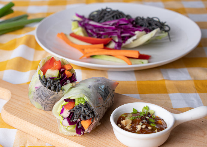 Veggie Spring Rolls with Black Bean Noodles