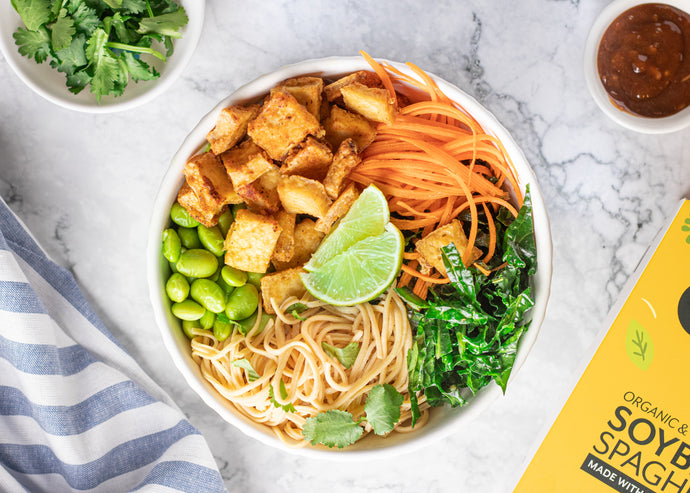 Tofu Power Bowl with Soy Bean Spaghetti