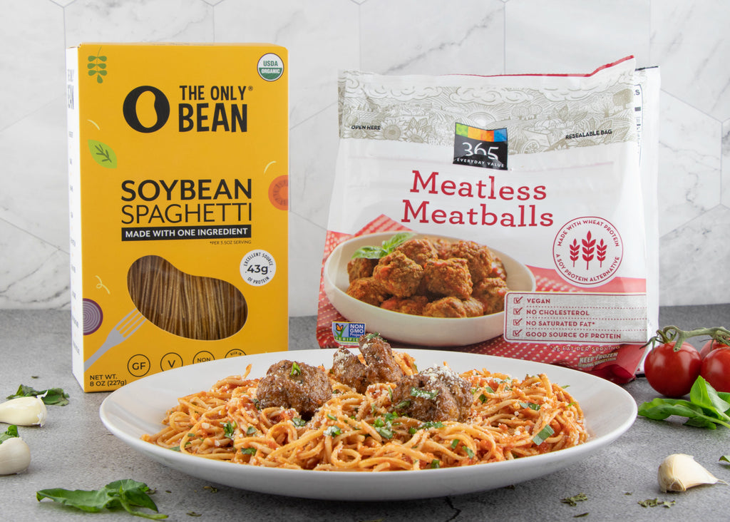 Soybean Spaghetti with Meatless Meatballs