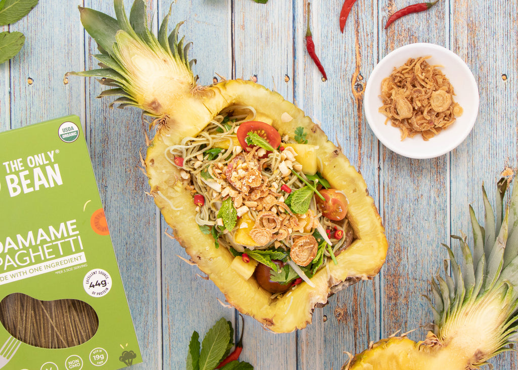 Pineapple Boat Thai Salad with Edamame Noodles