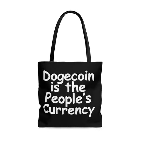 dogecoin is the people's currency tote bag