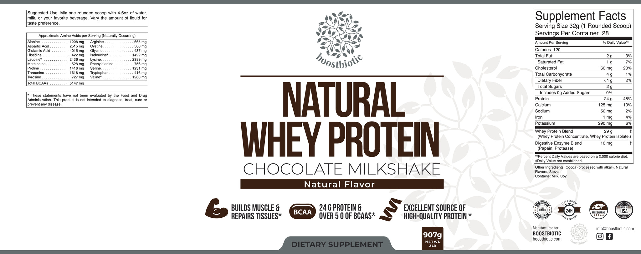 Chocolate Whey Protein Label Boost Biotic