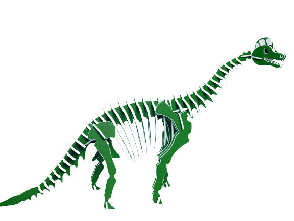 Oversized 3D Dinosaur Puzzle - Brachiosaurus - Recycled HDPE - 8 Two-Tone Color Combinations
