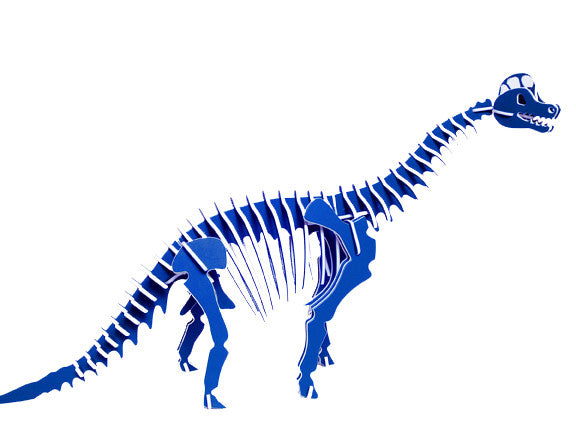 "Oversized 3D Dinosaur Puzzle - Brachiosaurus (36"" L x 20"" H) - 1/4"" Recycled HDPE - 8 Two-Tone Color Combinations"