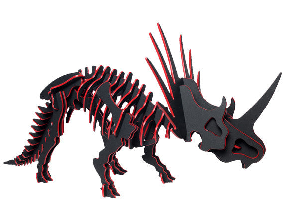 "Oversized 3D Dinosaur Puzzle - Styracosaurus (26"" L x 14"" H) - 1/4"" Recycled HDPE - 8 Two-Tone Color Combinations"