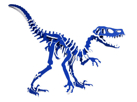 Oversized 3D Dinosaur Puzzle - Velociraptor - Recycled HDPE - 8 Two-Tone Color Combinations