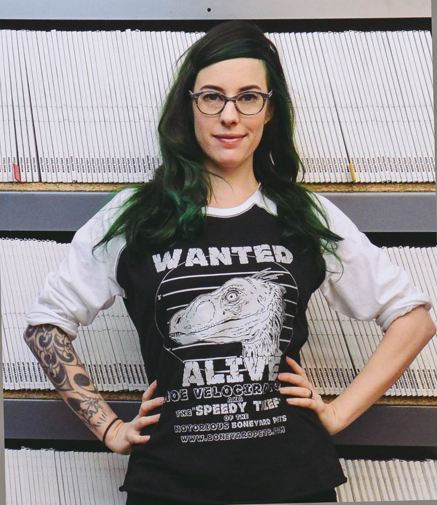 Special Edition Adult Black and White Raglan Shirt - Velociraptor [Silver Ink]
