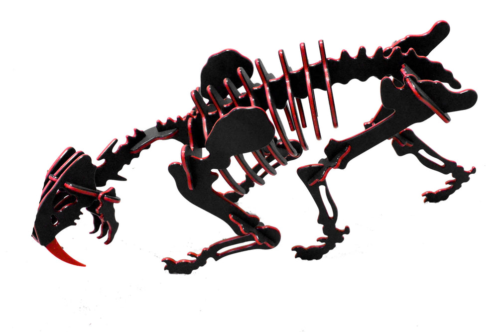 "Oversized 3D Dinosaur Puzzle - Smilodon (21"" L x 13"" H) - 1/4"" Recycled HDPE - 8 Two-Tone Color Combinations"