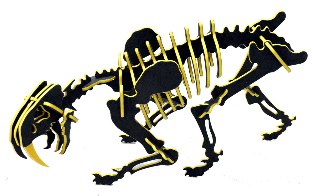 "[GIANT] 3D Dinosaur Puzzle - Smilodon (49"" L x 26"" H) - 1/2"" Two-Tone Recycled HDPE - 8 Color Combinations"