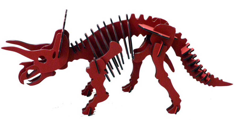 "[GIANT] 3D Dinosaur Puzzle - Triceratops (73"" L x 32"" H) - 1/2"" Recycled HDPE - 8 Color Combinations"