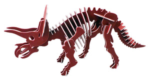 "Oversized 3D Dinosaur Puzzle - Triceratops (32"" L x 16"" H) - 1/4"" Recycled HDPE - 8 Two-Tone Color Combinations"