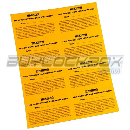 Winterization Warning Labels (Sheet of 8)