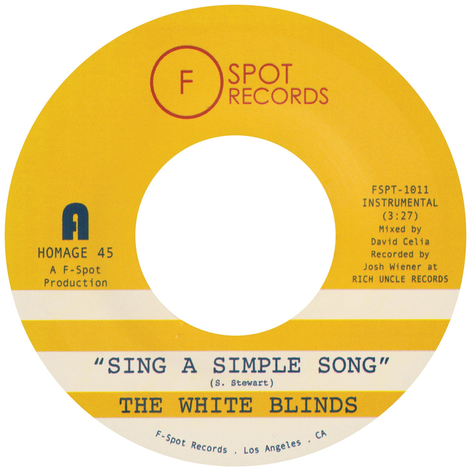 THE WHITE BLINDS - Sing A Simple Song b/w Klapp Back