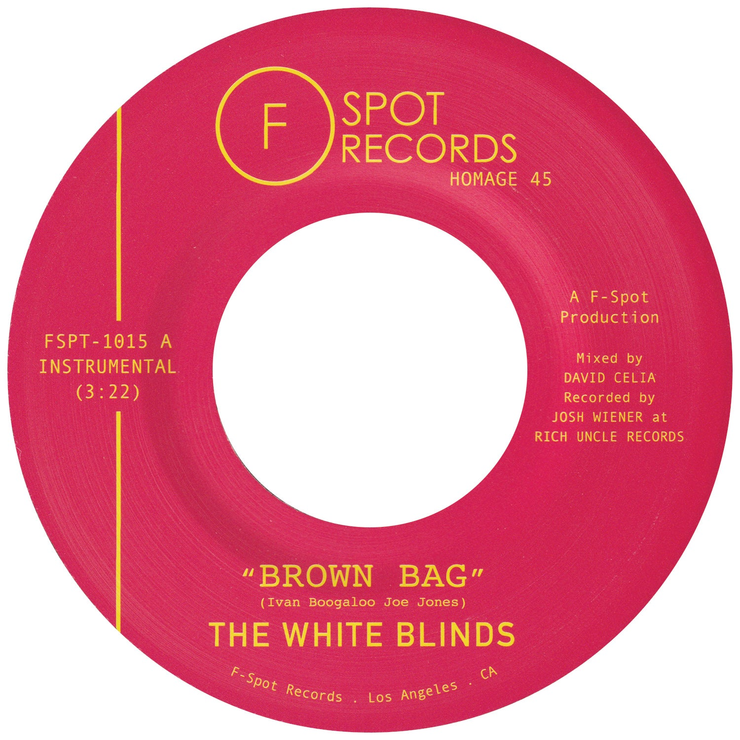 THE WHITE BLINDS - Brown Bag b/w Muddy Water