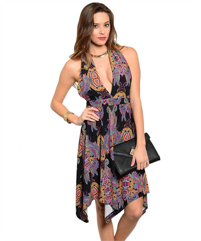 Dress Black with Purple Pattern