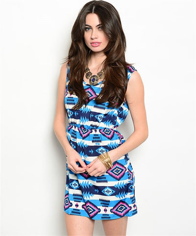 Dress Bright Blue and Pink Pattern
