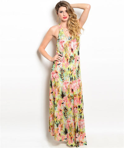 Feline Topical Maxi Dress