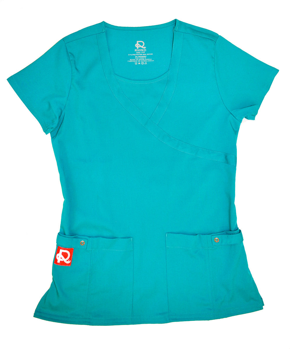 Crew Neck Teal Rhino Scrub Top
