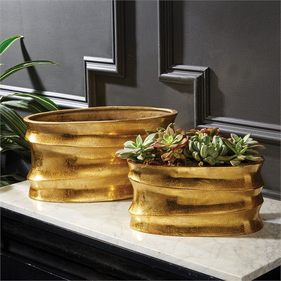 Gold Wave Planters By Tozai for Two's Company
