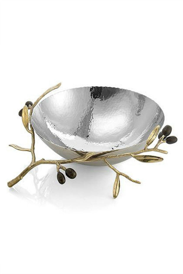 Olive Branch Gold Medium Serving Bowl By Michael Aram