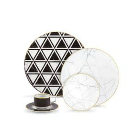 Carrara Marble / Chevron 5 Piece Placesetting Dinnerware Set By Vista Allegre