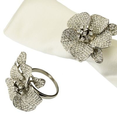 Jeweled Flower Napkin Rings By Classic Touch, Set of 4