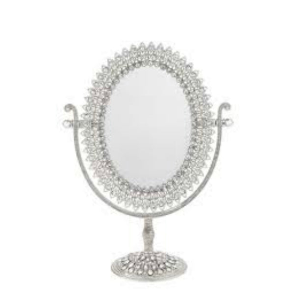 Oval Crystal Magnified Standing Mirror By Olivia Riegel