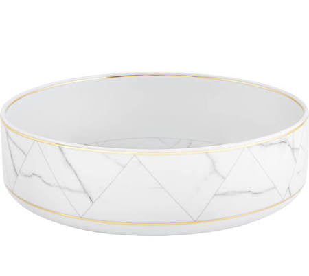 Carrara Marble Large Serving Bowl By Vista Alegre