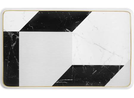 Carrara Marble / Chevron Large Rectangle Platter