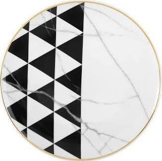 Carrara Marble/ Chevron Salad Plate By Vista Alegre