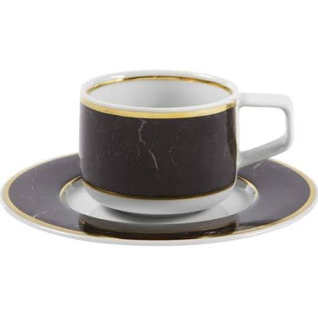 Carrara Marble Coffee Cup & Saucer By Vista Alegre