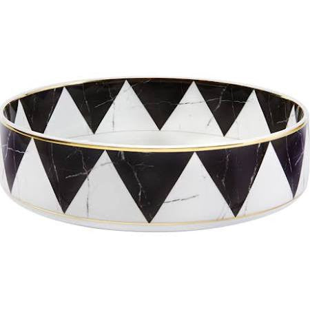 Carrara Marble / Chevron Small Serve Bowl By Vista Alegre