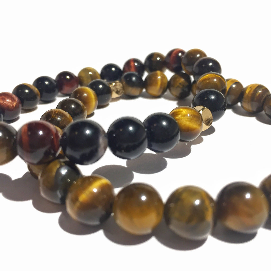 Stability Stack: Multicolor Tiger Eye &  Brown Tiger Eye