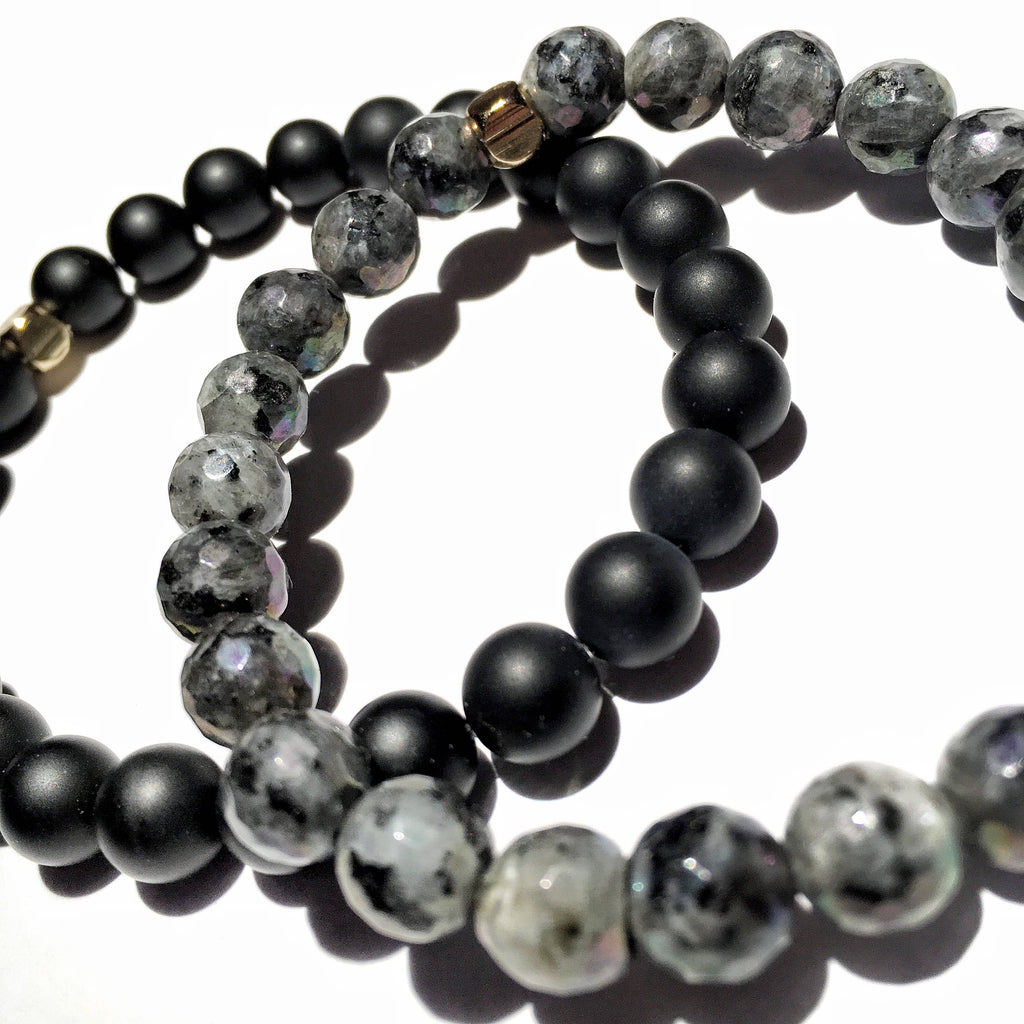 Strength and Potential: Matte onyx and Faceted Labradorite
