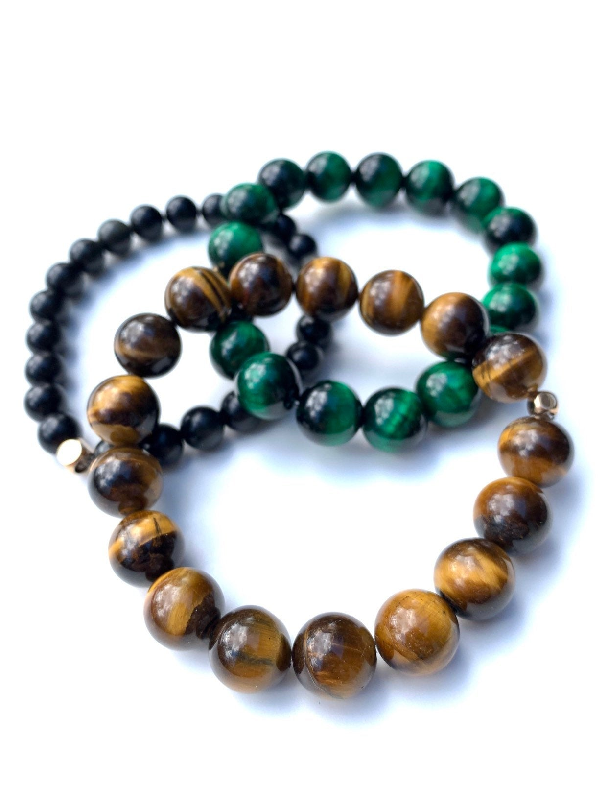 Stability Stack: Green & Brown Tiger Eye