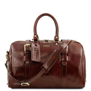 Voyager Leather travel bag with front straps - Small size