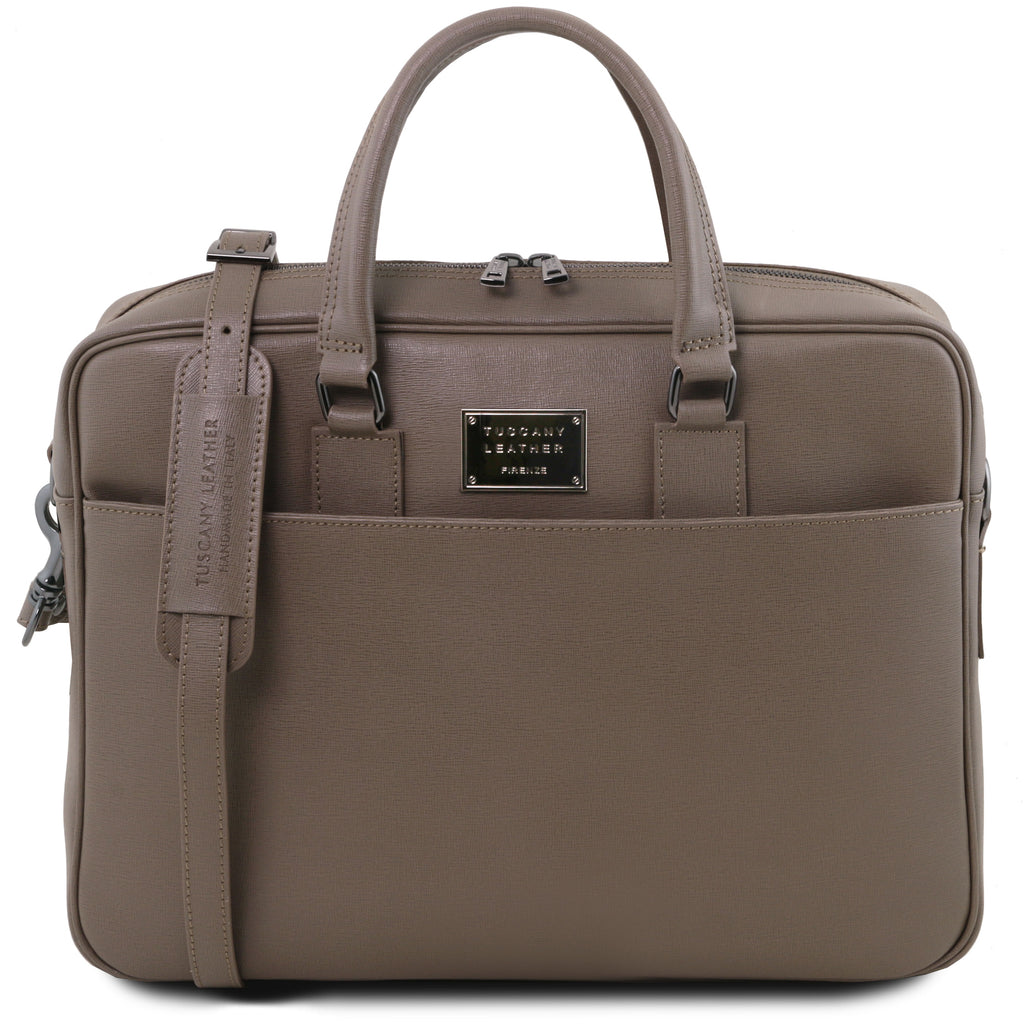 Urbino Saffiano Leather Women's Laptop Briefcase with Front Pocket