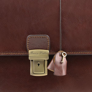 Parma Leather Briefcase with 2 compartments