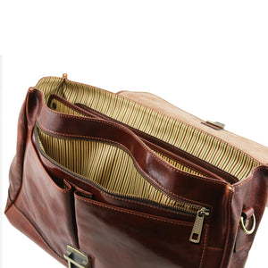 Mantova Leather Multi Compartment TL SMART Briefcase With Flap
