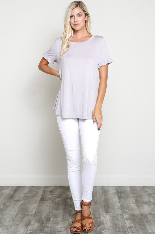 Lilac Ruffled Sleeved Top