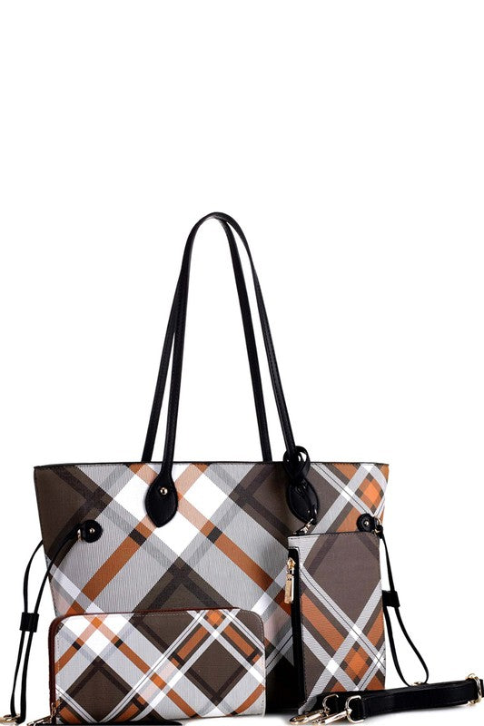 Plaid Checker Tote with Wallet Wristlet Set In Black