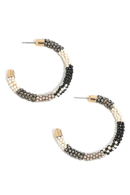 Cluster Seed Beaded Hoop Earring Black Combination